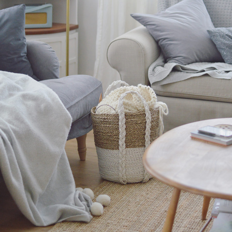 Home INteriors scandi basket hygge cosy knitting